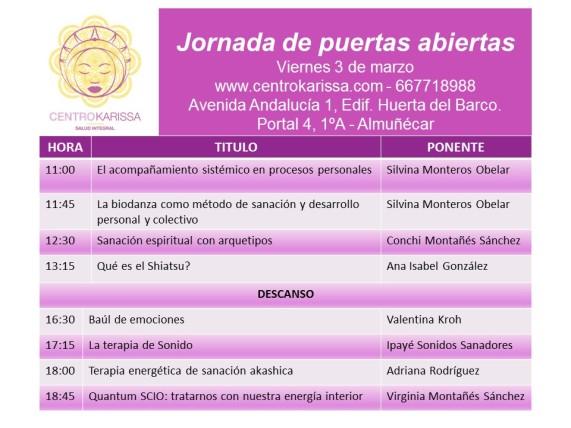 Programa jornada de puertas abiertas Centro Karissa